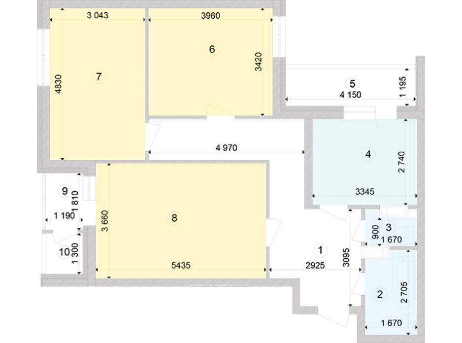 Планировка 3-комнатной квартиры в ЖК Голосеевская Долина 83.43 м², фото 260382