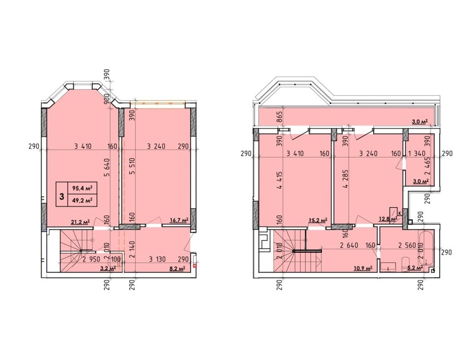 Планировка 3-комнатной квартиры в ЖК Венский Квартал 95.4 м², фото 260719