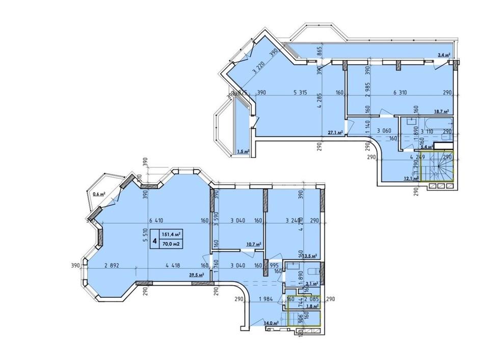 Планировка 4-комнатной квартиры в ЖК Венский Квартал 151.4 м², фото 260720