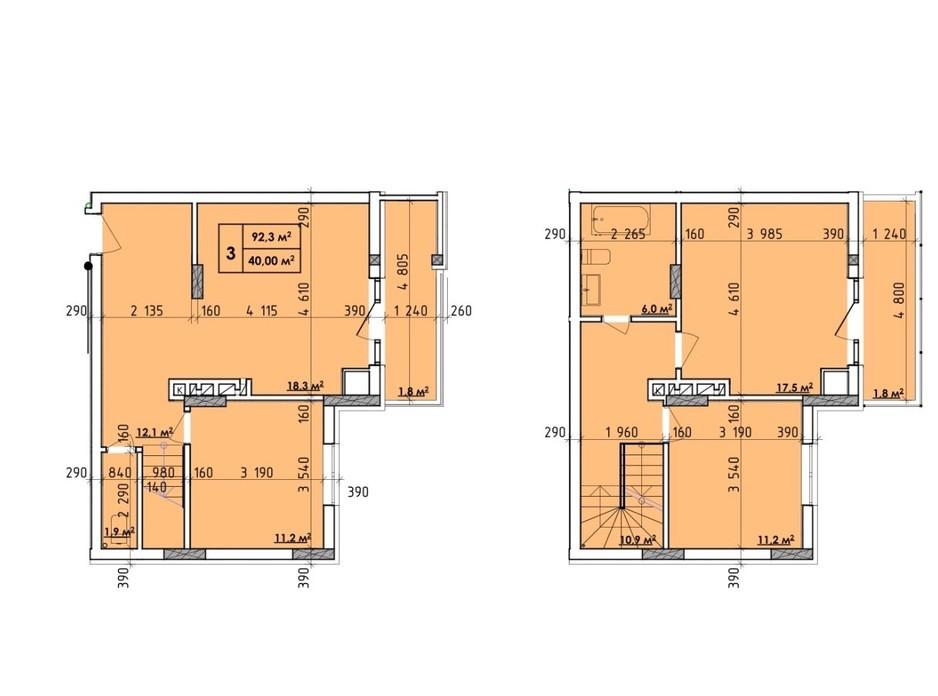 Планировка 3-комнатной квартиры в ЖК Венский Квартал 92.3 м², фото 260723