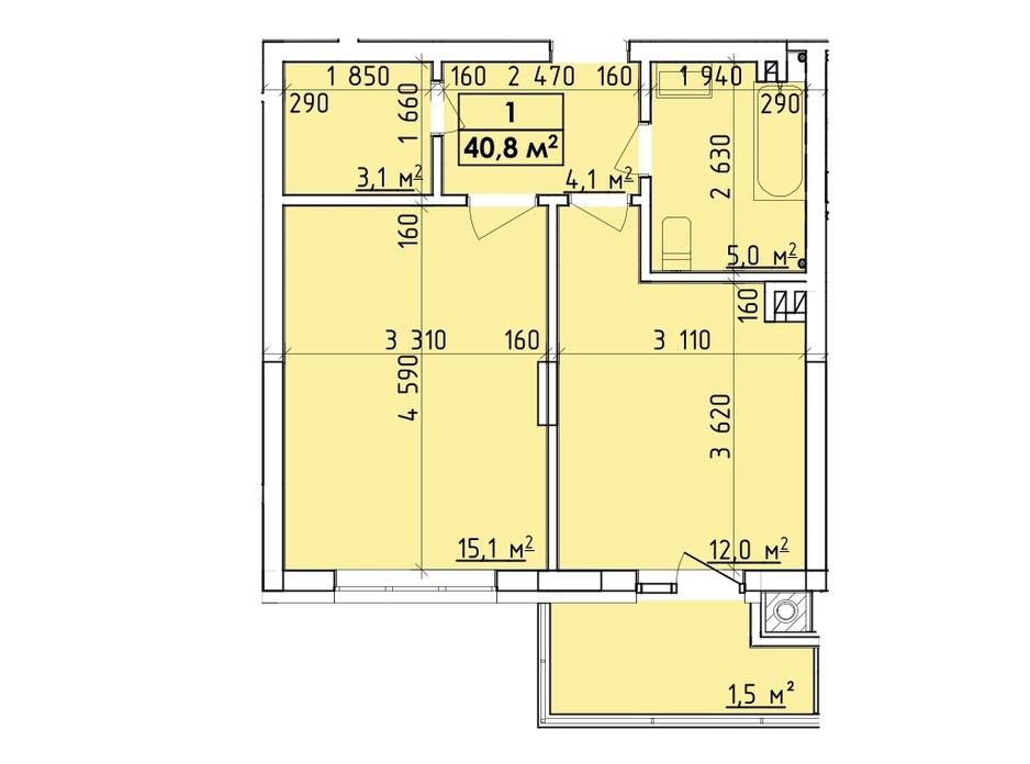 Планировка многоуровневой квартиры в ЖК Венский Квартал 40.8 м², фото 260745