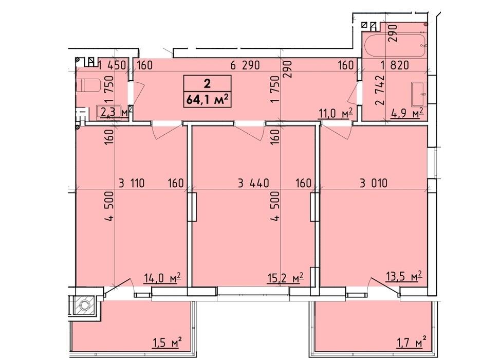Планировка многоуровневой квартиры в ЖК Венский Квартал 64.1 м², фото 260747