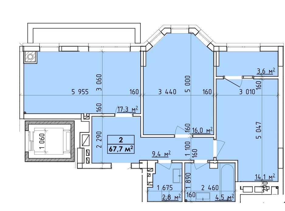 Планування багаторівневої квартири в ЖК Віденський Квартал 67.7 м², фото 260748