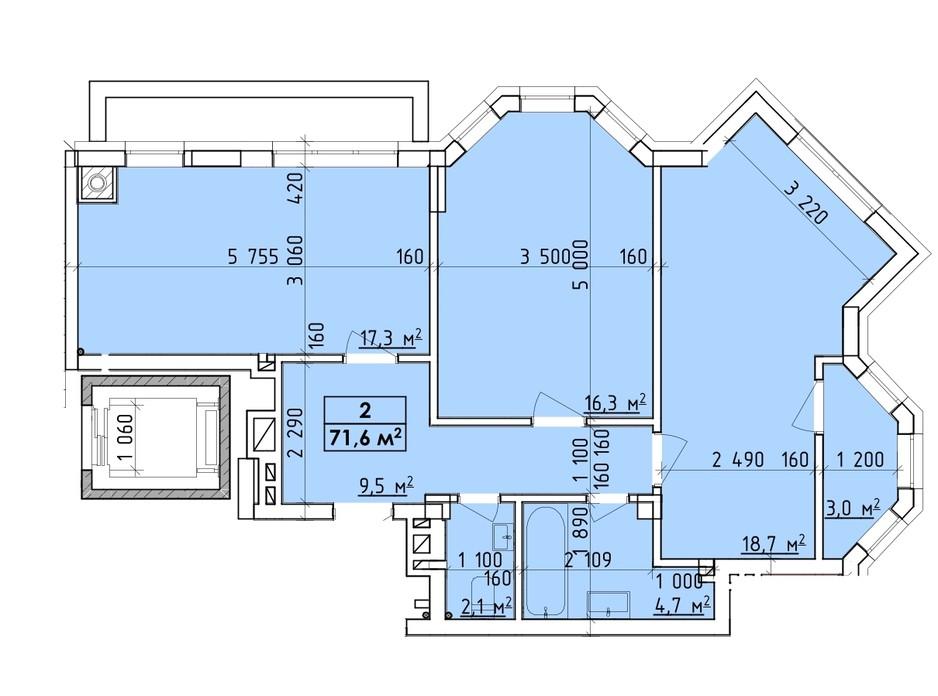Планировка многоуровневой квартиры в ЖК Венский Квартал 71.6 м², фото 260749
