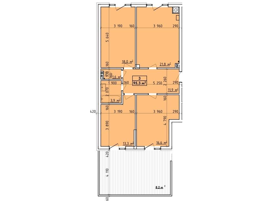 Планировка многоуровневой квартиры в ЖК Венский Квартал 95.3 м², фото 260752
