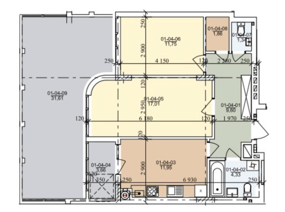 Планировка 2-комнатной квартиры в ЖК ул. Трускавецкая 68.42 м², фото 261044