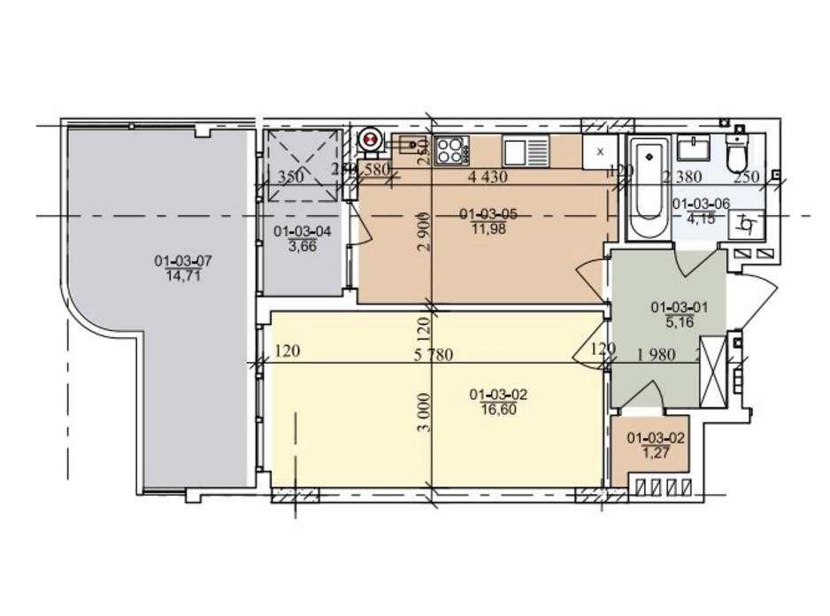 Планировка 1-комнатной квартиры в ЖК ул. Трускавецкая 45.4 м², фото 261047