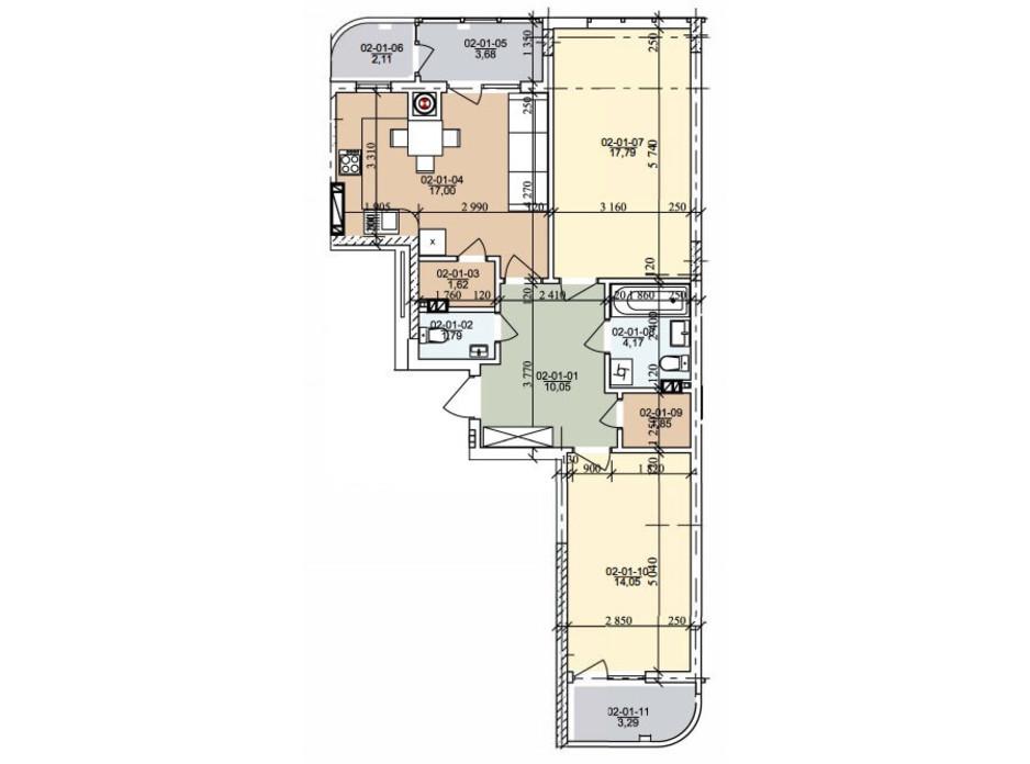 Планировка 2-комнатной квартиры в ЖК ул. Трускавецкая 73.62 м², фото 261075