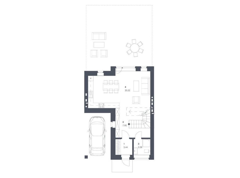 Планировка коттеджа в ЖК Липові Роси 107.08 м², фото 262556