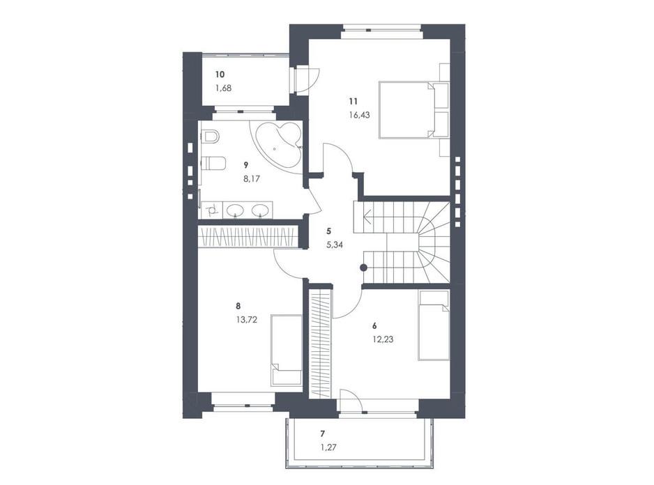 Планировка коттеджа в ЖК Липові Роси 107.08 м², фото 262561