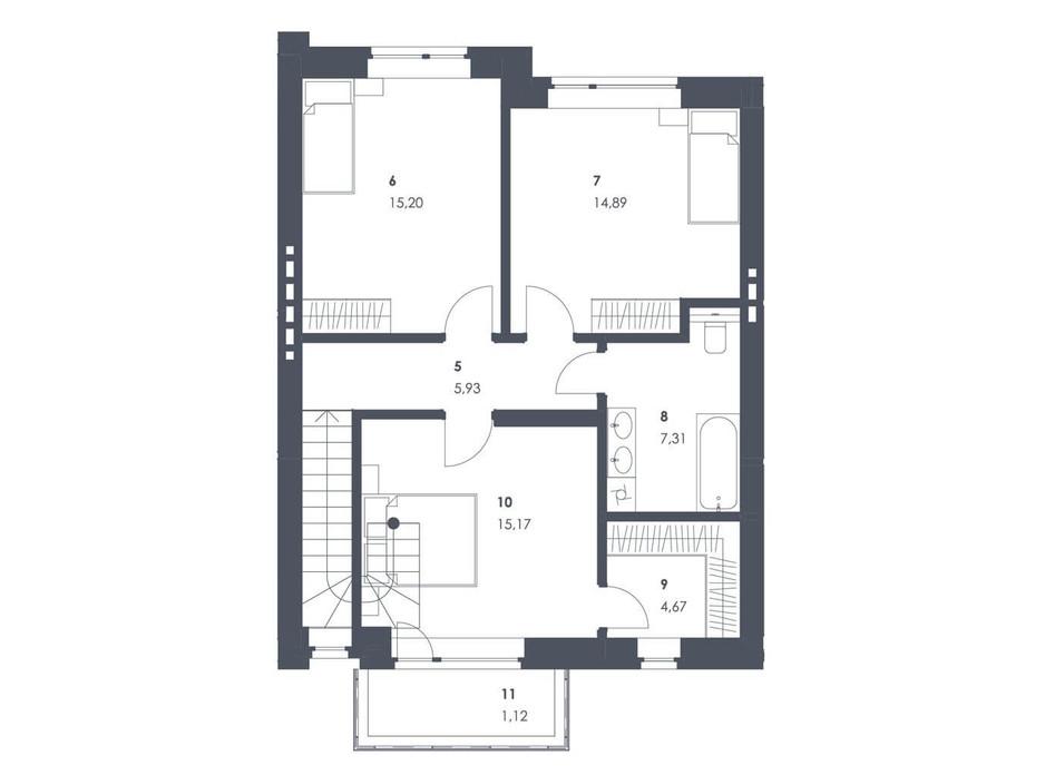 Планировка коттеджа в ЖК Липові Роси 112.68 м², фото 262569