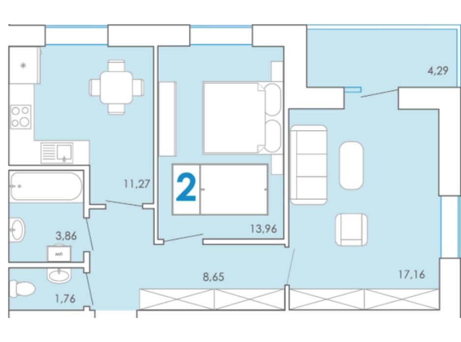 Планування 2-кімнатної квартири в ЖК Срібні Озера Комфорт 60.96 м², фото 262767