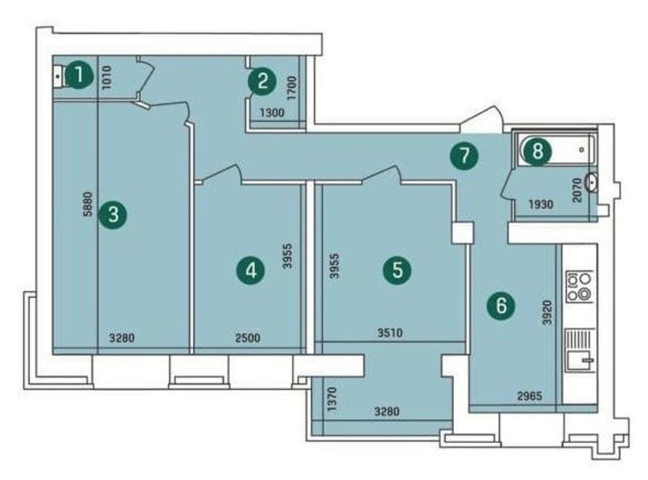 Планування 3-кімнатної квартири в ЖК Зарічний 89 м², фото 263625