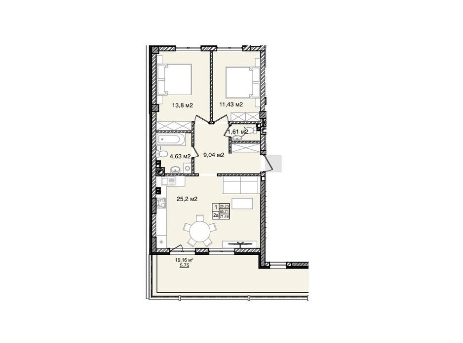 Планування 2-кімнатної квартири в КБ На Кондукторській 71.46 м², фото 264046