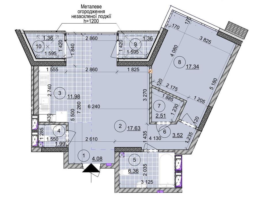 Планування 2-кімнатної квартири в ЖК вул. Євгена Маланюка (Сагайдака), 101 68.13 м², фото 265032