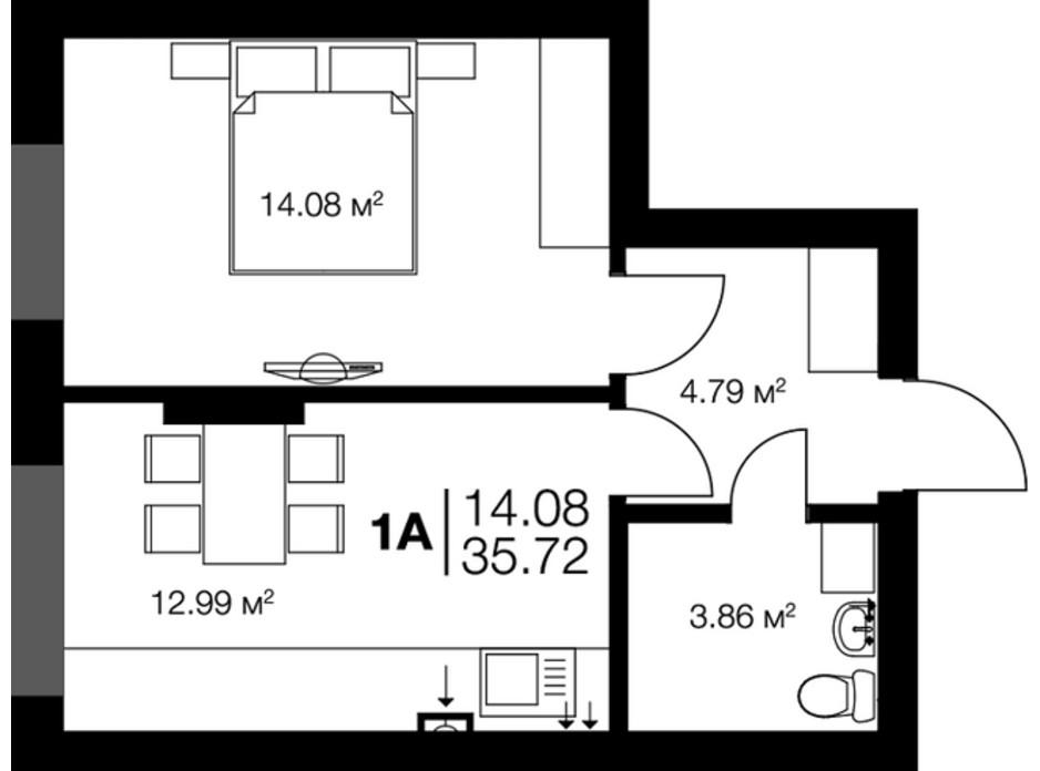 Планировка 1-комнатной квартиры в ЖК New York Towers 35.22 м², фото 265896