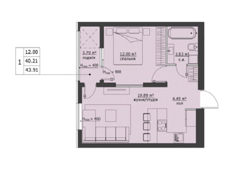 Планування 1-кімнатної квартири в ЖК Бетховен 43.91 м², фото 266463