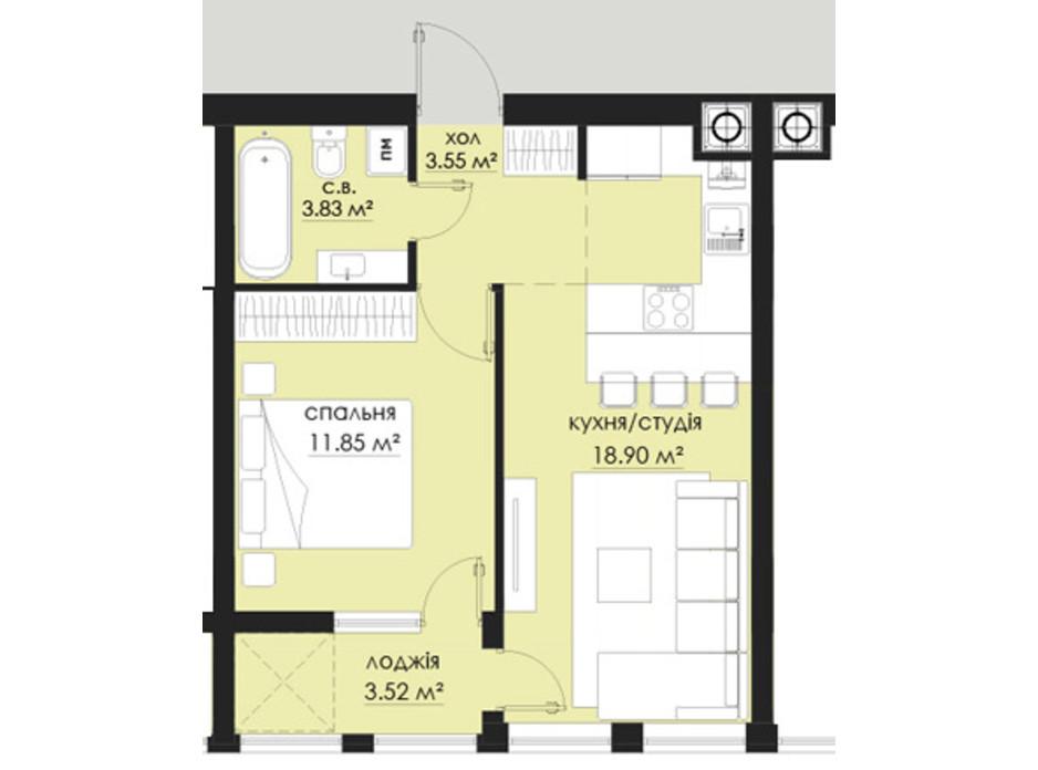 Планування 1-кімнатної квартири в ЖК на Стрийській 41.65 м², фото 266536