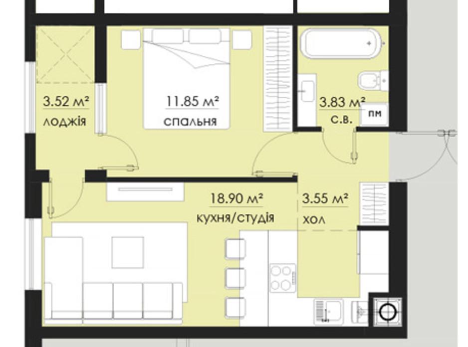Планування 1-кімнатної квартири в ЖК на Стрийській 41.65 м², фото 266537