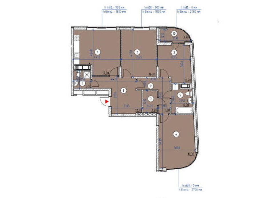 Планування 3-кімнатної квартири в ЖК Паркові Озера 2 104.3 м², фото 266875