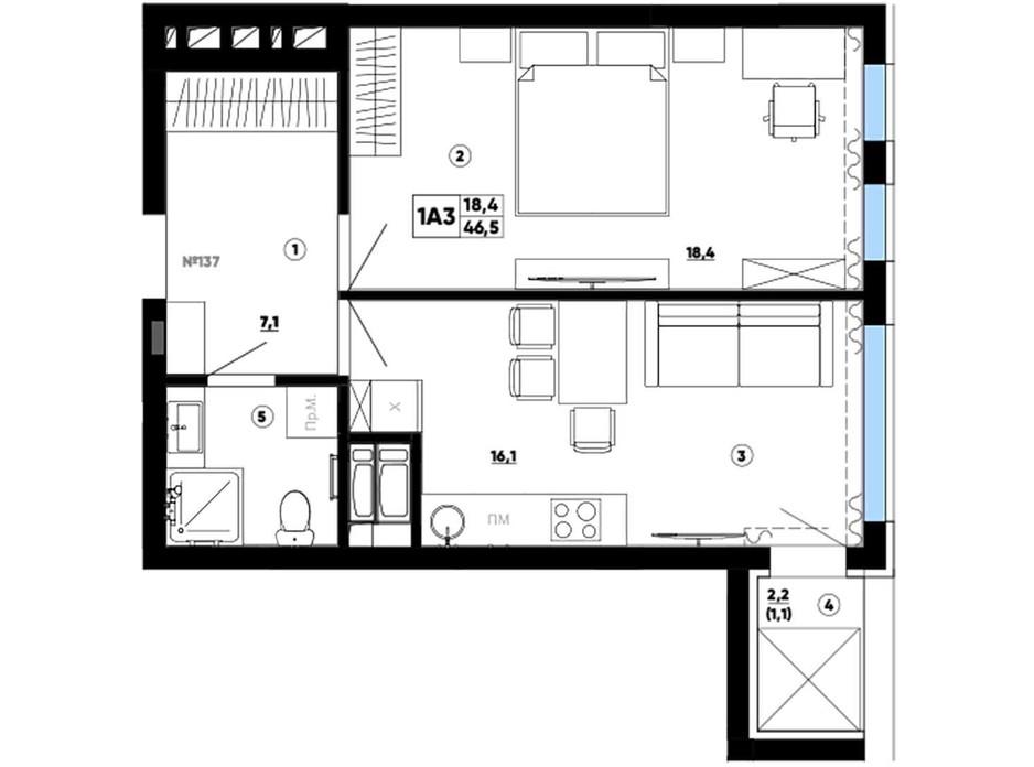 Планування 1-кімнатної квартири в ЖК Paradise Avenue 46.5 м², фото 267870