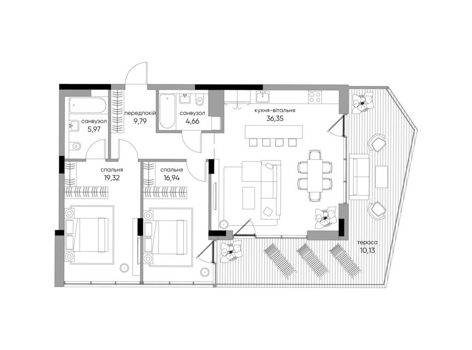 Планування 2-кімнатної квартири в ЖК Park Lake City 105.13 м², фото 267899