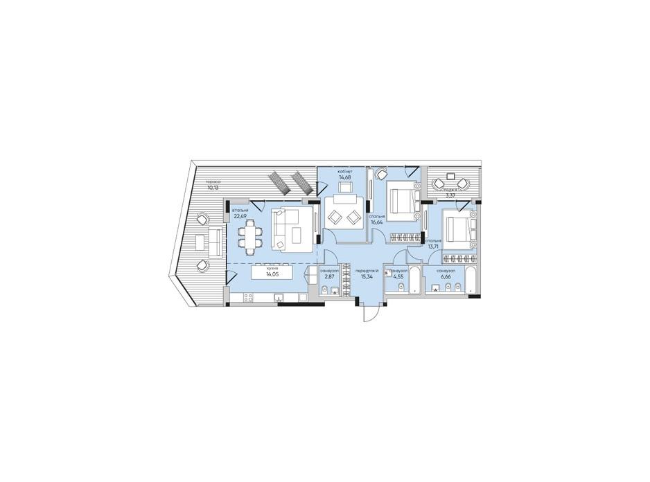 Планування 3-кімнатної квартири в ЖК Park Lake City 126.49 м², фото 267922