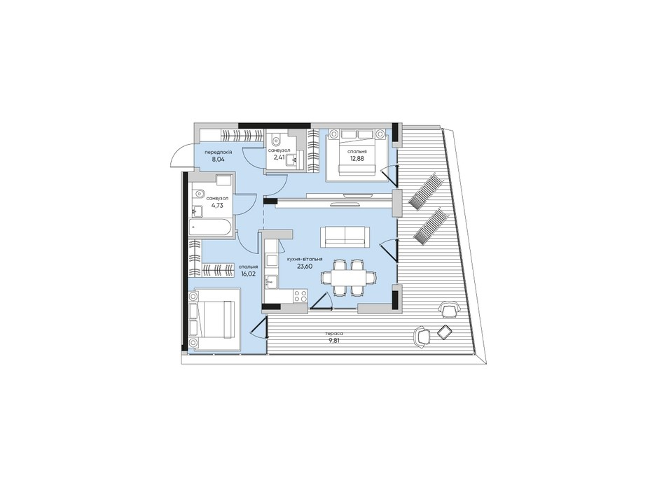 Планування 2-кімнатної квартири в ЖК Park Lake City 77.49 м², фото 267925