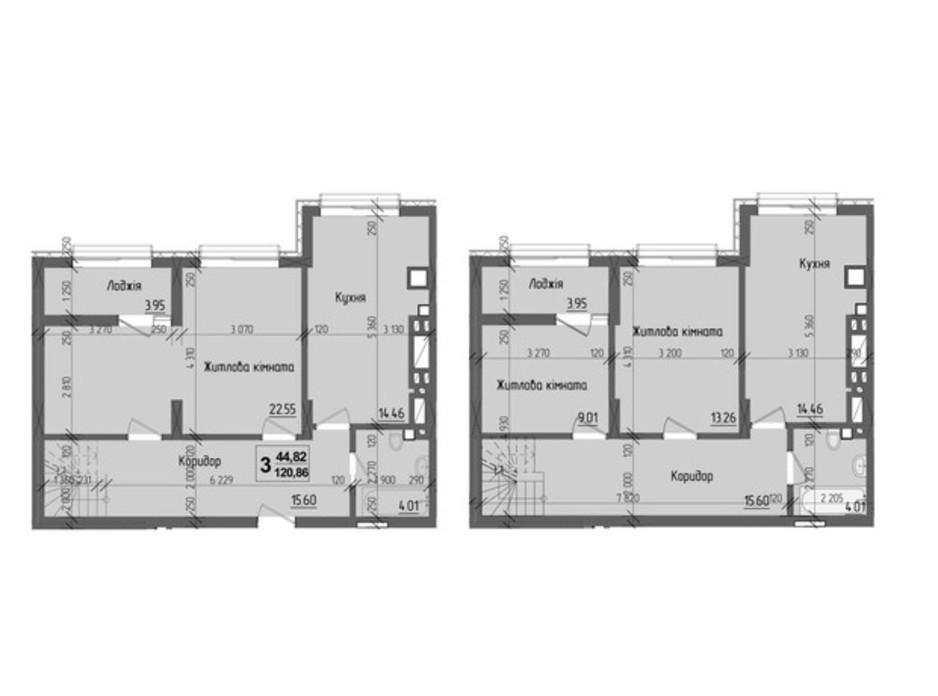 Планировка 3-комнатной квартиры в ЖК KromaxBud 120.86 м², фото 267960
