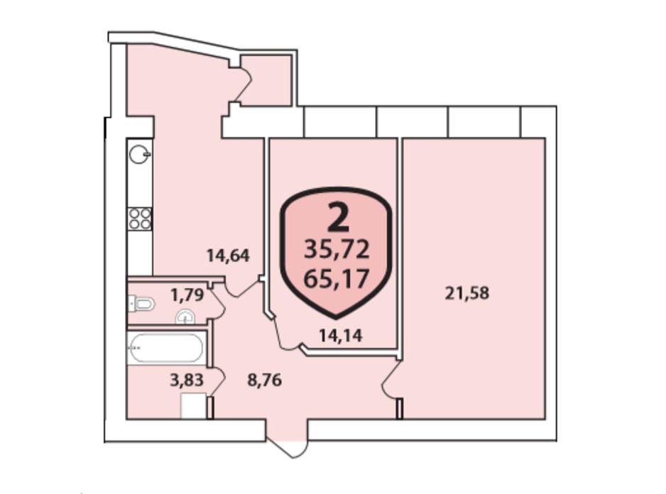 Планировка 2-комнатной квартиры в ЖК Олимпийский 65.17 м², фото 268419