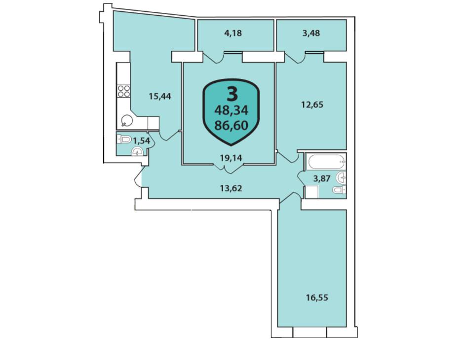 Планировка 3-комнатной квартиры в ЖК Олимпийский 86.6 м², фото 268422