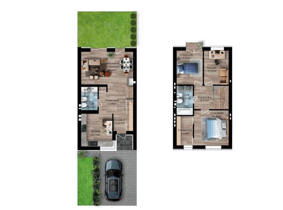 Планировка многоуровневой квартиры в Таунхаус Долішній 99 м², фото 268523