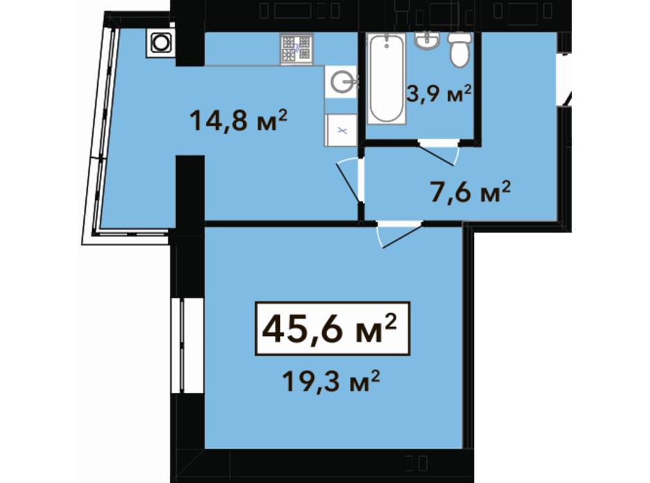Планировка 1-комнатной квартиры в ЖК Перлина Проскурова 2 45.6 м², фото 268903