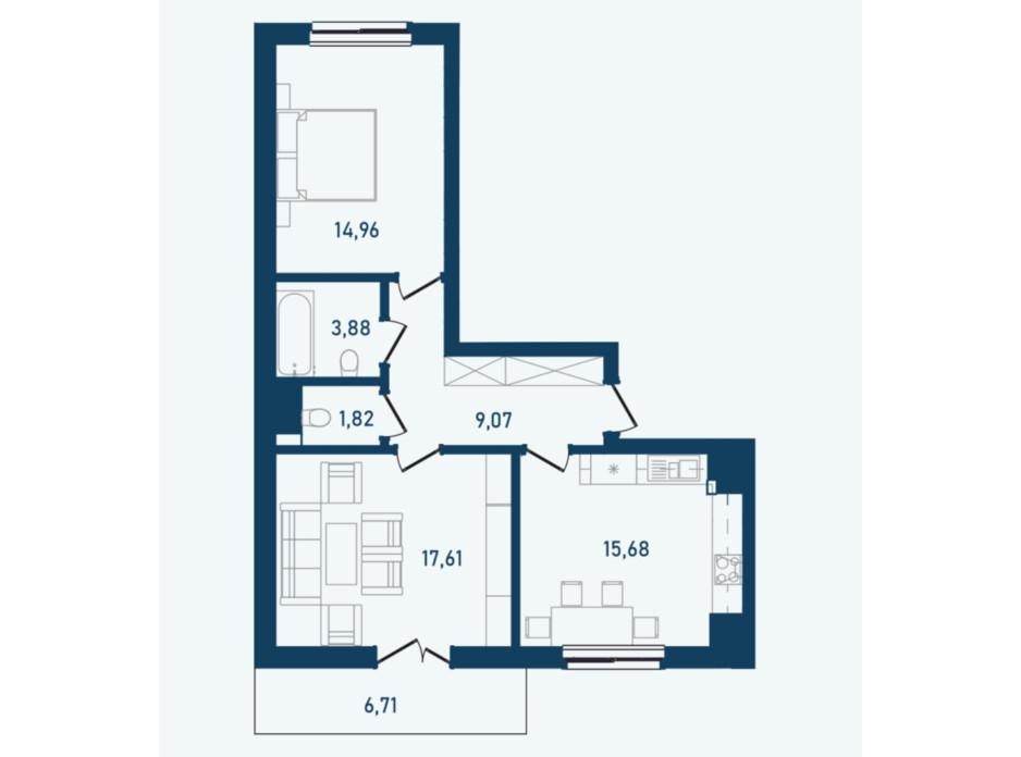 Планировка 2-комнатной квартиры в ЖК Престижный 2 69.73 м², фото 268974