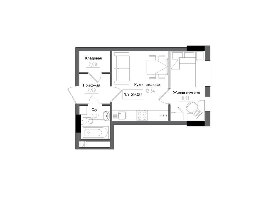 Планування 1-кімнатної квартири в ЖК Artville 29.06 м², фото 269274