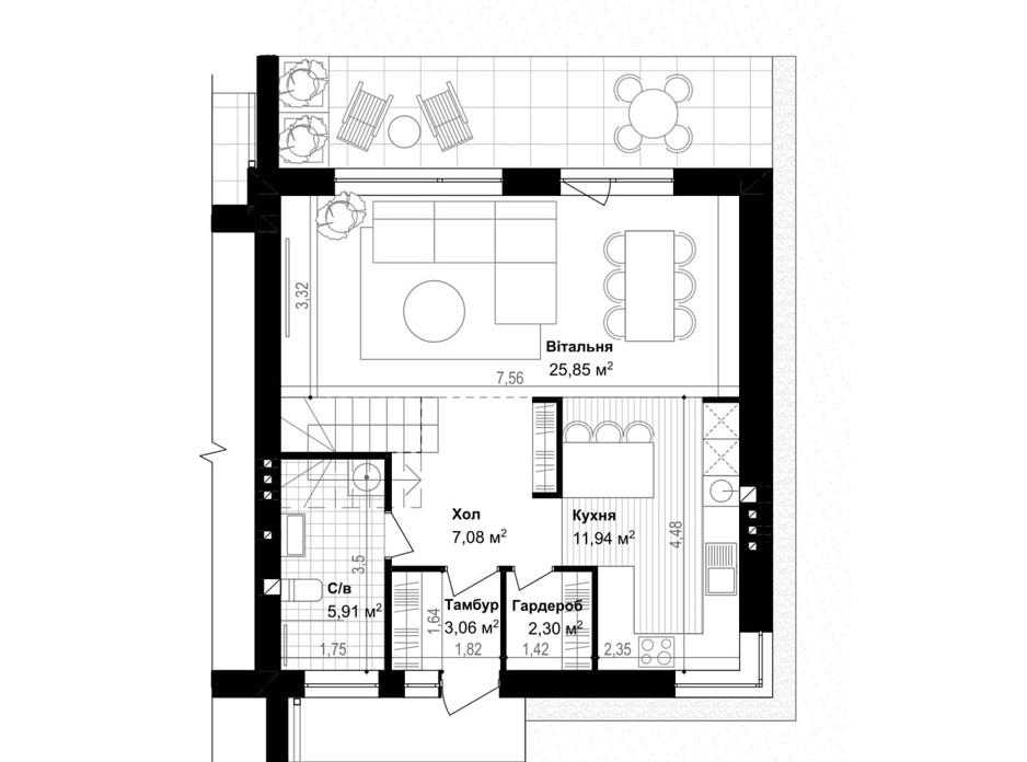 Планировка таунхауса в Таунхаус Smart & Green (Смарт энд Грин) 120.7 м², фото 269569