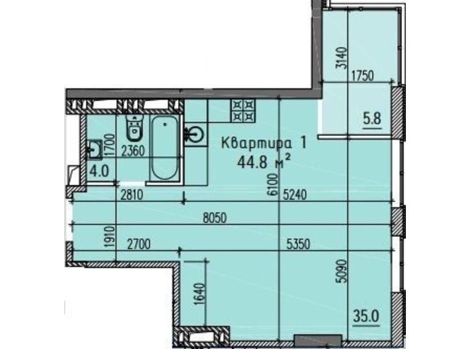Планировка свободная планировка квартиры в ЖК River Hall  44.8 м², фото 269645