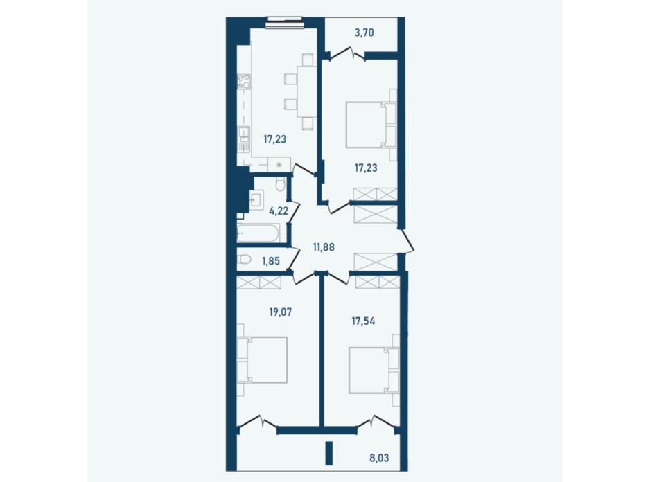 Планировка 3-комнатной квартиры в ЖК Престижный 2 99.85 м², фото 269702