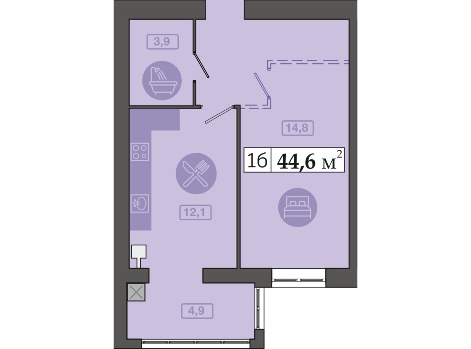 Планировка 1-комнатной квартиры в ЖК Счастливый на Днепре 44.6 м², фото 271118
