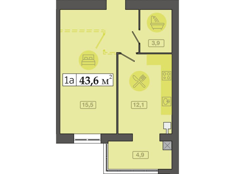 Планировка 1-комнатной квартиры в ЖК Счастливый на Днепре 43.6 м², фото 271122