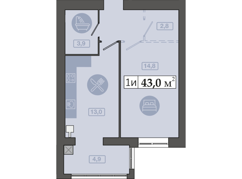Планировка 1-комнатной квартиры в ЖК Счастливый на Днепре 43 м², фото 271124