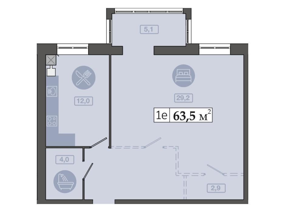 Планировка 1-комнатной квартиры в ЖК Счастливый на Днепре 63.5 м², фото 271126