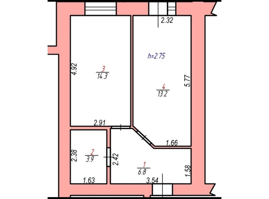 Планировка 1-комнатной квартиры в ЖК Злагода 36 м², фото 271461