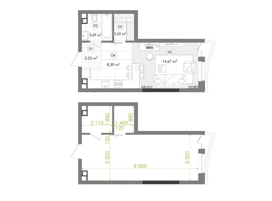 Планування 1-кімнатної квартири в ЖК Creator City 31.91 м², фото 272336