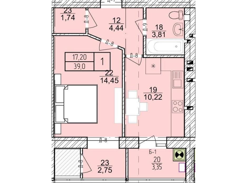 Планировка 1-комнатной квартиры в ЖК Болгарский 39 м², фото 272921