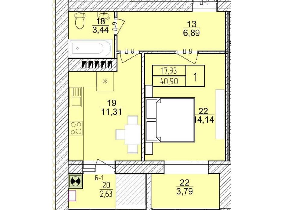 Планировка 1-комнатной квартиры в ЖК Болгарский 40.9 м², фото 272922