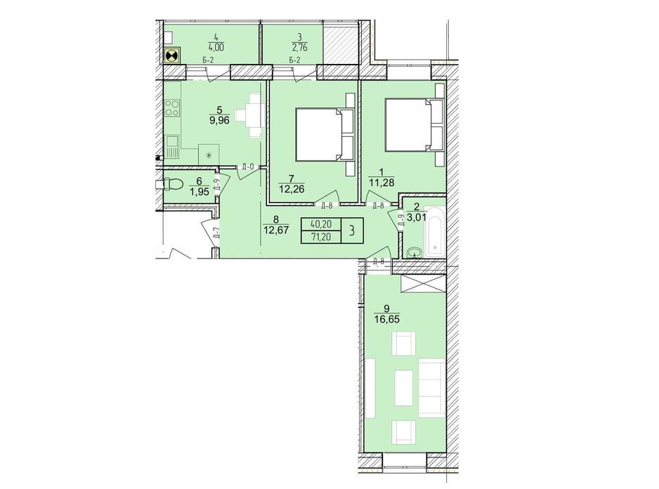 Планировка 3-комнатной квартиры в ЖК Болгарский 71.2 м², фото 272924