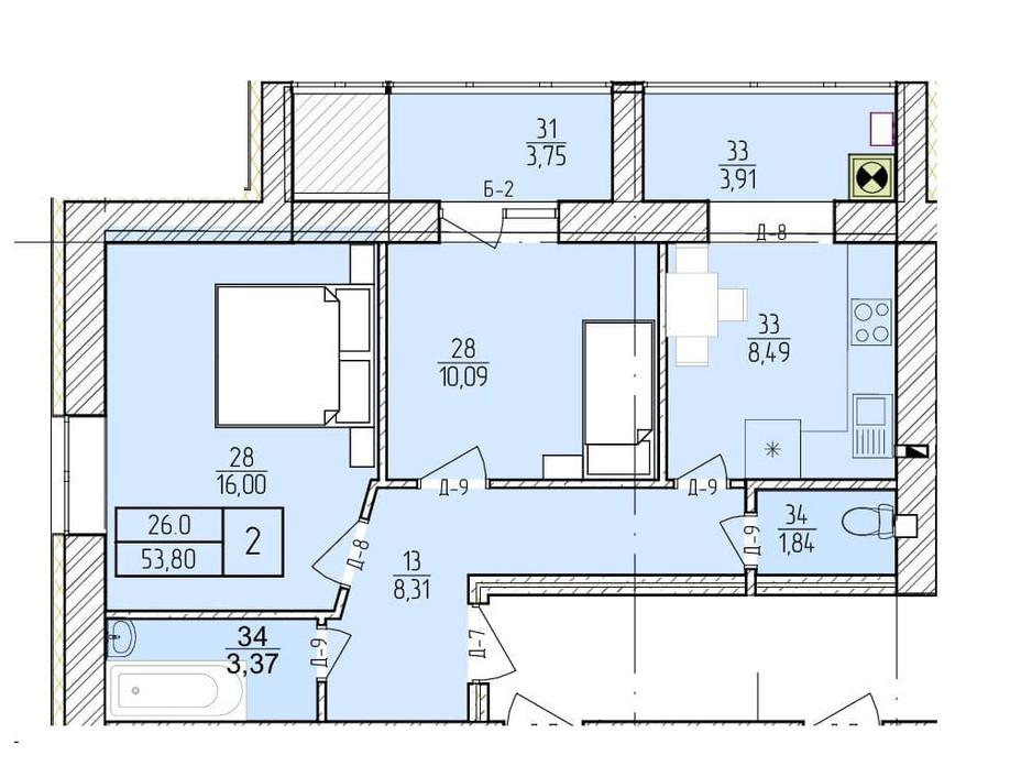 Планировка 2-комнатной квартиры в ЖК Болгарский 53.8 м², фото 272925