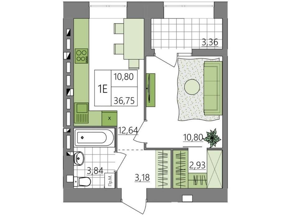Планировка 1-комнатной квартиры в ЖК Синергия Light 37.63 м², фото 273027