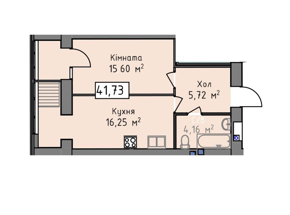 Планировка 1-комнатной квартиры в ЖК Статус 1 41.73 м², фото 273068